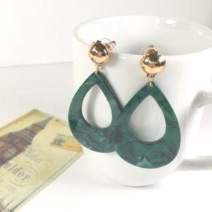 Jewelry - Marbled Tortoise Shell Teardrop Earrings